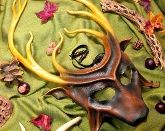 Leather Deer Mask, Majestic Leather Stag Mask, Cernunnos Costume, Dark Chestnut Brown Deer, Wire Reinforced Antlers  (M180)
