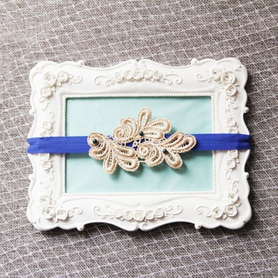 Bridal Garter Wedding Garter Navy Blue Beads Royal By