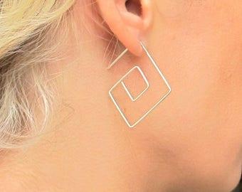 Spiral Square Hoop Earrings, Modern Earrings, Unique Earrings, Swirl Earrings, Geometric Earrings, Geometric Jewelry, Cool Everyday Earrings