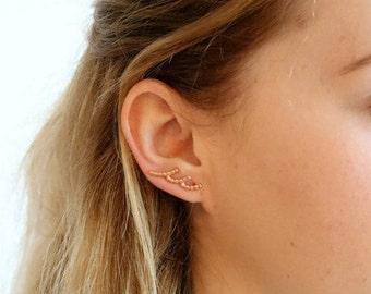 Gold Ear Crawler Earrings, Vermeil  Ear Climber Earrings,  Gold Ear Jackets  Statement Earring     Artisan Handmade by Sheri Beryl