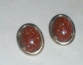 Vintage Goldstone Earrings, Clip On