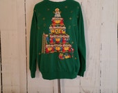Vintage Ugly Christmas Sweatshirt , 80s, 90s, Teddy Bears, Holiday, Turtleneck, Thin Sweatshirt, Christmas Party Sweater