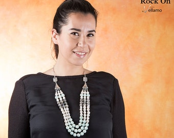 Rich statement bib necklace with amazonite, labradorite, white pearls, three strand necklace earrings set, layered fashion necklace