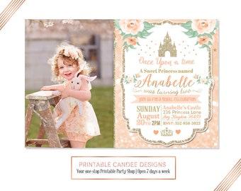 Princess Birthday Invitation, Peach Princess, Princess Castle Party, Glitter Princess Birthday, Floral Princess Invite, Printable