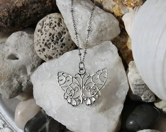 Reiki Attuned Antique Silver Power Animal Totem Butterfly Pendant Necklace