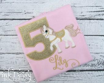Pink Gold Horse Birthday Shirt - Girls Pony Birthday Shirt - 5th Birthday - Personalized Applique Shirt - Rodeo - Horseback Riding - Western