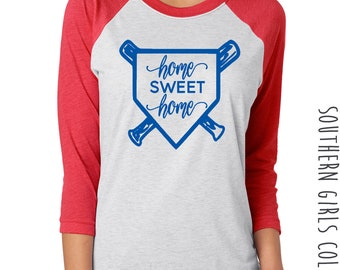 Home Sweet Home Baseball Raglan Shirt - Home Sweet Home Baseball Diamond Design Tshirt - Graphic Baseball Shirt - Softball Shirt