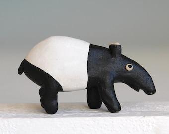 Ceramic Tapir, Malayan tapir sculpture, original hand built ceramic sculpture, Tapir pottery, stoneware
