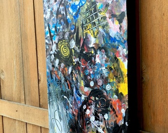 """Original Handmade Art- RecoveryPTSD/Anxiety/ADHD Painting Titled """"Racing Thoughts"""" 15""""x30""""- Abstract, Multicolor, Vertical"""
