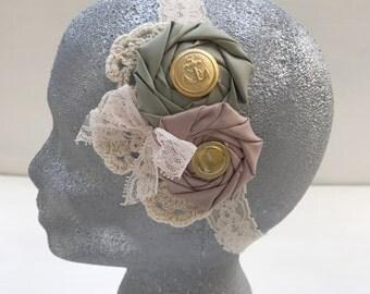 Vintage style headband~Rosette flowers headband~Lace headband~Prop~Photo prop~Photography prop~Flower girl~Wedding~Girl~Gift Hair accessory