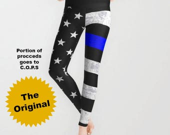 Thin Blue Line Leggings, Capri Leggings - American Flag