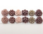 12 pcs Resin Flower Cabochons Assorted Sizes Sampler Pack - Taupe Mix - Small Flowers
