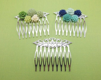 3 pcs Hair Combs filigree style silver plated - 9 teeth 56mm long - hair decorations, bridal hair accessories