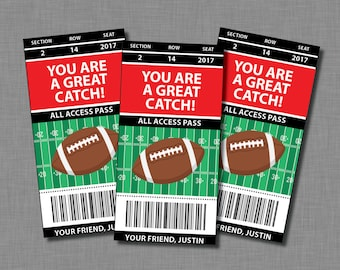 Football Valentine Cards sports Printable Customized Classroom PDF