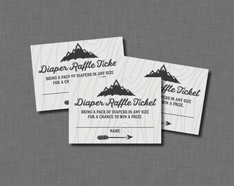 Adventure Diaper Raffle Ticket BB75 Printable - Instant Download