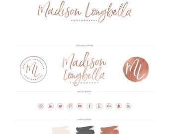Signature Logo design - Rose Gold or Silver Logo Design - photography logo - hand lettered font Logo - PreDesigned Custom Branding package