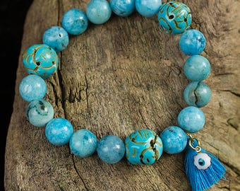 Hemimorphite and Hematite Bracelet with Evil Eye Charm and Tassel