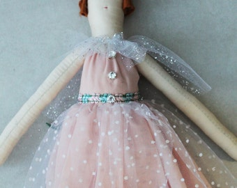 Iris Ragdoll: Handmade from Vintage and Recycled Materials, Cloth Doll, Princess, Fairy, Sparkles, Ragdoll