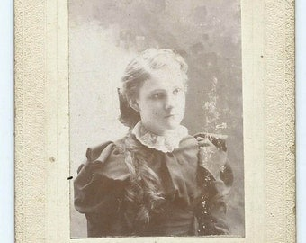 Antique Cabinet Card Photo of Teenage Girl w Long Hair