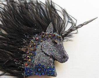 Black Unicorn Fascinator, unicorn corsage, ostrich feather brooch