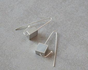 Long silver earrings, Sterling silver earrings, Polymer clay earrings, Hook earrings, Dangle earrings, Geometric earrings, Square earrings,