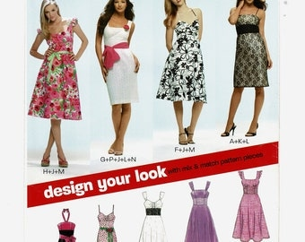 New Look 6699 Womens Dress Sewing Patterns, Design Your Own Sleeveless Summer Dress pattern, Misses size 8 to 18, UnCut Modern, New