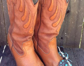 Women's Vintage Retro 70's Frye Cowgirl Boots Leather  Size 8