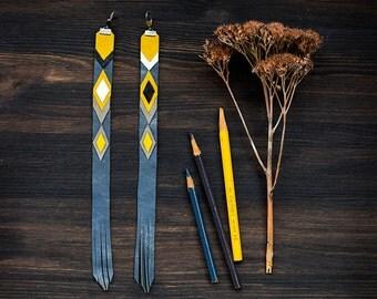 Extra Long Leather Earrings asymmetric, tribal geometric extravagant jewelry, grey and mustard chevron fashion jewelry