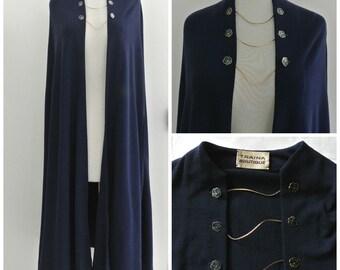 vtg 70s Teal TRAINA BOUTIQUE wool jersey cape Navy Blue enamel floral buttons
