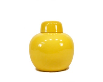 Vintage Yellow Tea Jar // Japanese Porcelainware Tea Jar // Loose Tea Storage Canister