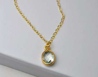 Green Amethyst Necklace, Delicate Gold Necklace, Green Amethyst Jewelry, Green Gem Necklace, February Birthstone, Gift for Women, Girlfriend