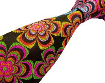Luxury Mens Necktie - Pure Silk - Loud Multicolour Floral Tie - Handmade in England - 'Burst'