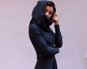 Hoodie dress in dark blue