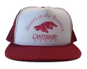 """Vintage Canterbury Downs """"History in the running"""" - snap back - snapback trucker hat - Burgundy and White - Horse Racing"""