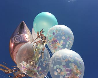 Clear Confetti Balloon WITH Tassel Tail prefilled confetti balloons