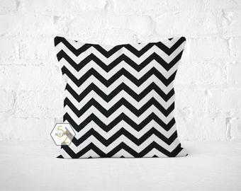 Black Chevron Pillow Cover - Zig Zag Black - Lumbar 12 14 16 18 20 22 24 26 Euro - Hidden Zipper Closure