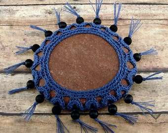 Crocheted Navajo Lace Stone, Original Collectible Native Inspired Art, One of a Kind Unique Gift for Home or Office, Handmade