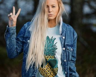Womens Boho PINEAPPLE Sunglasses Shirt, Pineapple Shirt, Trendy Tumblr Shirt Tee Top Bohemian Vintage Retro Cotton Short Sleeve Tshirt