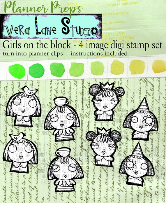 The girls on the block - 4 digi stamp bundle for planner clips and more