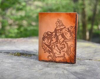 Gryffindor Leather Wallet, handmade, Harry Potter