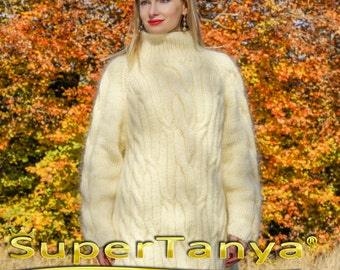 SUPERTANYA hand knitted mohair pullover in ivory made  to measure