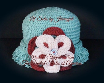 Baby Hat, Baby Girl Hat, Baby Bonnet, Baby Gift, Baby Clothing, Pink Baby Hat, Crocheted Baby Hat, Pink / Green, Flower Hat, Baby Gift