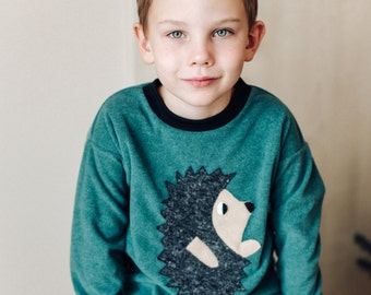 hedgehog sweater, animal sweater, kids sweater, funny kids sweater, kids gift, kids sweater, kids sweatshirt, green shirt,  hedgehog