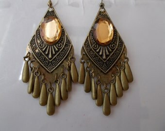 SALE Bronze Tone Chandelier Earrings with Bronze Tone Teardrop Bead Dangles and a Gold Tone Bead Center