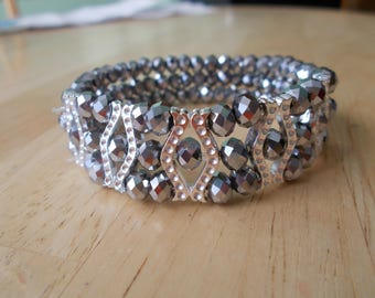 3 Row Silver Crystal Stretch Cuff Bracelet with Silver Tone Spacers