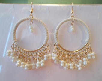 Gold Tone and White Hoops Earrings with White Pearl Bead Dangles