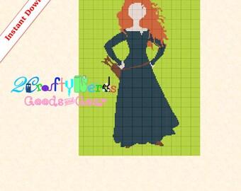 Merida Full Dress 125x175 Afghan Graphghan PATTERN PDF Printable Digital Grid Graph Crochet Knit Toddler Baby Crib Size Colors Blanket