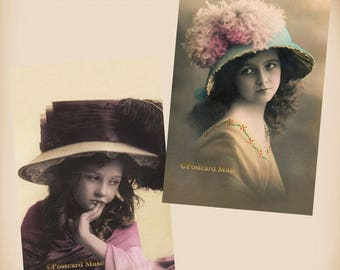 Girl With A Fancy Hat - 2 New 4x6 Vintage Postcard Image Photo Prints - CE30-124