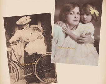 Mother - Daughter - Bicycle - 2 New 4x6 Vintage Card Image Photo Prints CE152 CE33