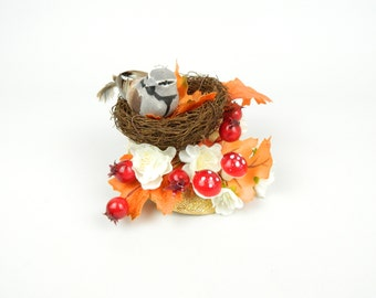 Headpiece Fascinator Nest With Feathered Bird, Silk Flowers, Mushrooms and Berries Woodland, Statement Cocktail Hat Party Hair Accessory